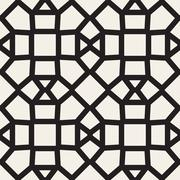 Vector Seamless Black and White Mosaic Lattice Pattern Piirros