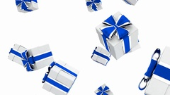 Gift boxes falling from the top 3D looping animation with alpha matte Stock Footage