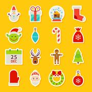 Happy New Year Stickers Stock Illustration