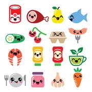 Kawaii cute food characters - meat, vegetables, fruit icons set Stock Illustration