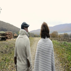 Senior couple on a walk in colorful autumn nature Stock Footage