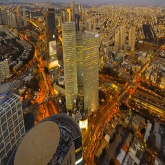 Time lapse - Central Tel Aviv skyline day to night with traffic Stock Footage