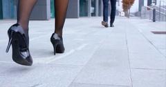 Business Woman Walking In High Heels To Meet Her Co-Worker Stock Footage