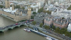 Palace of Westminster and London city aerial view Stock Footage