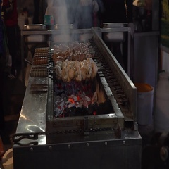 Meat on grill. Meat fried on mangal. Cooking pork meat on hot charcoal. Stock Footage