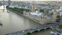 Palace of Westminster and Westminster bridge aerial view Stock Footage