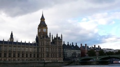 Palace of Westminster from the Thames river Stock Footage