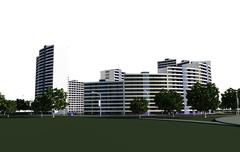 3D render of concept of residential complex Stock Illustration