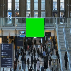 Green Screen Advert in London Liverpool Street Station Stock Footage