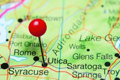 Utica pinned on a map of New York state, USA Kuvituskuvat