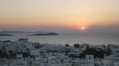 Sunset zoom in view of the town of chora on mykonos Stock Footage