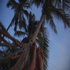 Men Legs Swinging In Hammock On Beach. Stock Footage