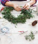 Creative diy hobby. Handmade craft christmas decoration, ornament and garland Stock Photos