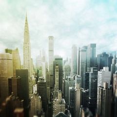 Slow pan composition of downtown New York City  Stock Footage