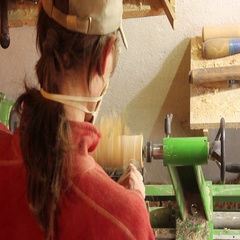 Foot operated spring pole wood lathe.