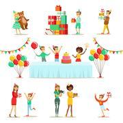 Children Birthday Party Set Of Scenes Stock Illustration