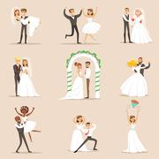 Newlyweds Posing And Dancing On The Wedding Party Set Of Scenes Stock Illustration