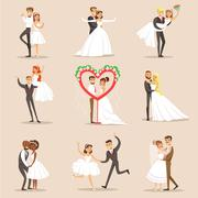 Happy Newlyweds On The Wedding Party Set Of Scenes Stock Illustration