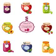 Different Berry And Fruit Jam Jars Set Of Illustrations Stock Illustration