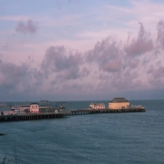 View at Sunset of a Pier Stock Footage