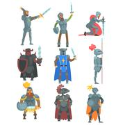 Knights In Full Armor Set Of Flat Illustrations Stock Illustration