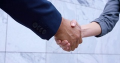 Business Woman And Business Man Handshake At Meeting Stock Footage