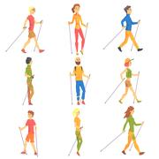 People Doing Nordic Walk Outdoors Set Of Illustrations Stock Illustration