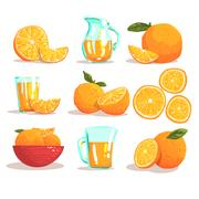 Oranges And Orange Juice Cool Style Bright Illustrations Stock Illustration