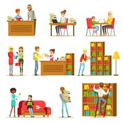 People Talking And Reading Books In Library Set Of Illustrations Stock Illustration