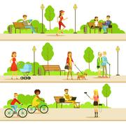 People Different Activities Outdoors Set Of Illustrations Stock Illustration