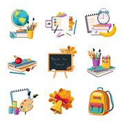 School And Eduction Related Sets Of Objects Stock Illustration