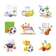 Different School Classes And Activities Related Sets Of Objects Stock Illustration