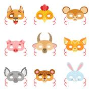 Animal Paper Masks Set Of Items Stock Illustration
