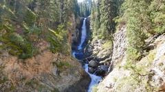 Waterfall Tears Leopard (Barsa), Barskoon gorge,  Issyk Kul region, Kyrgyzstan Stock Footage