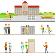 School Building Exterior And Kids In Its Corridors Illustrations Stock Illustration