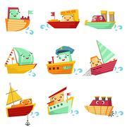 Toy Boats With Faces Colorful Illustration Set Piirros