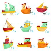 Toy Ships With Faces Colorful Illustration Set Piirros