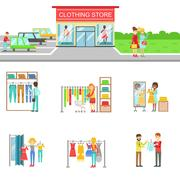 Clothing Store Exterior And People Shopping Set Of Illustrations Stock Illustration