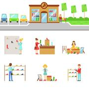 Footwear Store Exterior And People Shopping Set Of Illustrations Stock Illustration