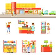 Supermarket Exterior And People Shopping Set Of Illustrations Stock Illustration