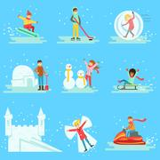 People Having Fun In Snow In Winter Collection Of Illustrations Piirros