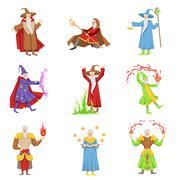 Classic Fantasy Magicians Set Of Characters Stock Illustration