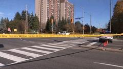 Toronto police investigate pedestrian struck fatal car accident Stock Footage