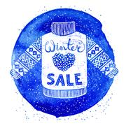 Winter Special banner or label with knitted woolen sweater on watercolor Stock Illustration