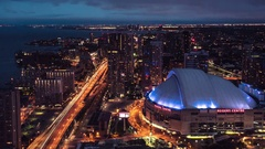 Toronto Skyline Buildings From Highrise Rogers Centre QEW Highway Night To Day Stock Footage
