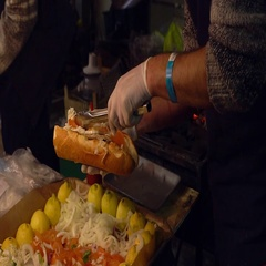 Making hot dog with fish Stock Footage