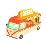 Coffee Shop Cafe In Mini Bus On Sunny Day Stock Illustration