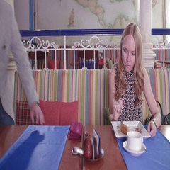 Man is late for the date and a woman is frown, she gives a slap in the face with Stock Footage