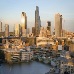 City of London skyline and the River Thames at dusk Stock Footage