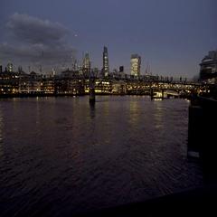 Millennium Bridge Southbank night Stock Footage
